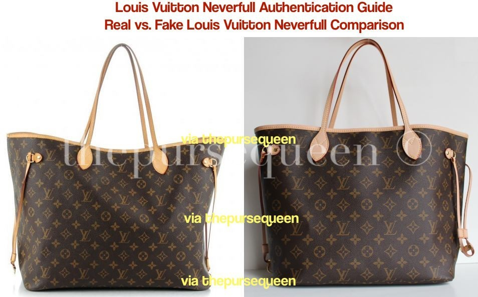 59f8b6ababb7 Can You Spot a Fake Louis Vuitton Bag  Authentic vs. Replica Louis Vuitton  Neverfull Comparison - Authentic   Replica Handbag Reviews by The Purse  Queen